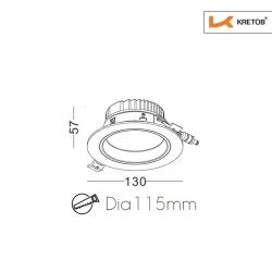 Skizze mit Höhe und Breite des LED Einbaustrahlers Tila Grande