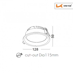Skizze mit Höhe und Breite des LED Einbaustrahlers Tiara II in Weiss