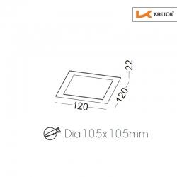 Skizze mit Höhe und Breite des LED Einbaustrahlers Thalina I Schwarz