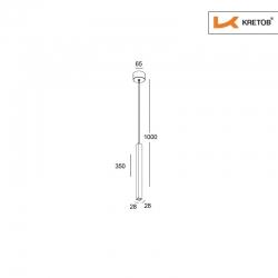 Skizze mit den Maßen der LED Pendelleuchte Palina Weiß