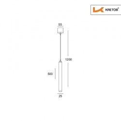 Skizze mit den Maßen der LED Pendelleuchte Aurelia Weiß