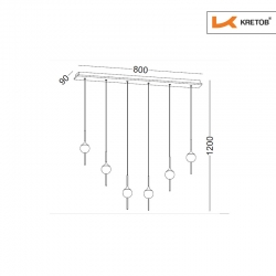 Skizze mit den Maßen der LED Pendelleuchte Raila Regular
