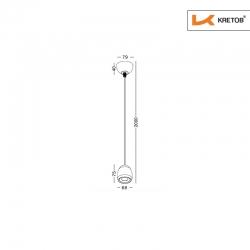 Skizze mit den Maßen der LED Pendelleuchte Maira Weiß