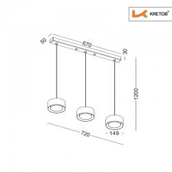 Skizze mit den Maßen der LED Pendelleuchte Lola Trio Schwarz