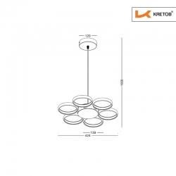 Skizze mit den Maßen der LED Pendelleuchte Cora