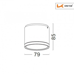 Skizze mit den Maßen des LED Aufbaustrahles Tondo II Weiß
