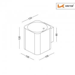 Skizze mit den Maßen der LED Wandleuchte Aroa Silber
