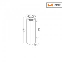 Skizze mit den Maßen der LED Wandleuchte Aroa Grande