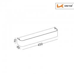 Skizze mit den Maßen der LED Wandleuchte Tamo II Silber