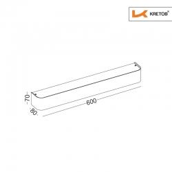 Skizze mit den Maßen der LED Wandleuchte Tamo III Silber