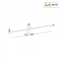 Skizze mit den Maßen der LED Wandleuchte Eta