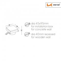 Skizze mit den Maßen der LED Wandleuchte LaVita Edge