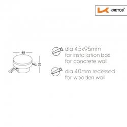 Skizze mit den Maßen der LED Wandleuchte LaVita Globe