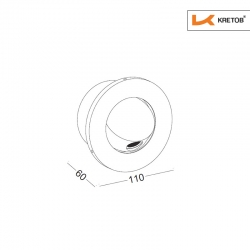 Skizze mit den Maßen der LED Wandleuchte Zypris Globe Schwarz