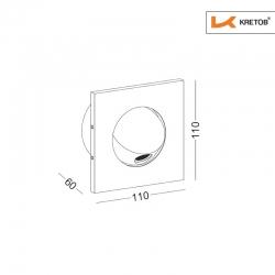 Skizze mit den Maßen der LED Wandleuchte Edge Globe Weiß