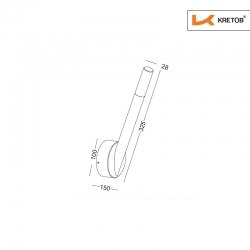 Skizze mit den Maßen der LED Wandleuchte Madera