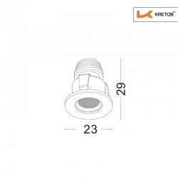 Skizze mit Länge und Breite des LED Einbaustrahlers Satura Ida in Schwarz