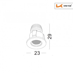 Skizze mit Länge und Breite des LED Einbaustrahlers Satura Ida in Chrom