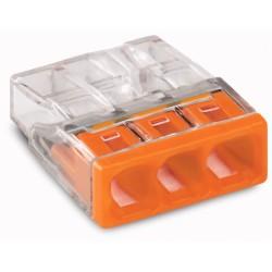 WAGO-2273-203 COMPACT-Verbindungsdosenklemme 3-Leiter bis 2,5qmm/Orange